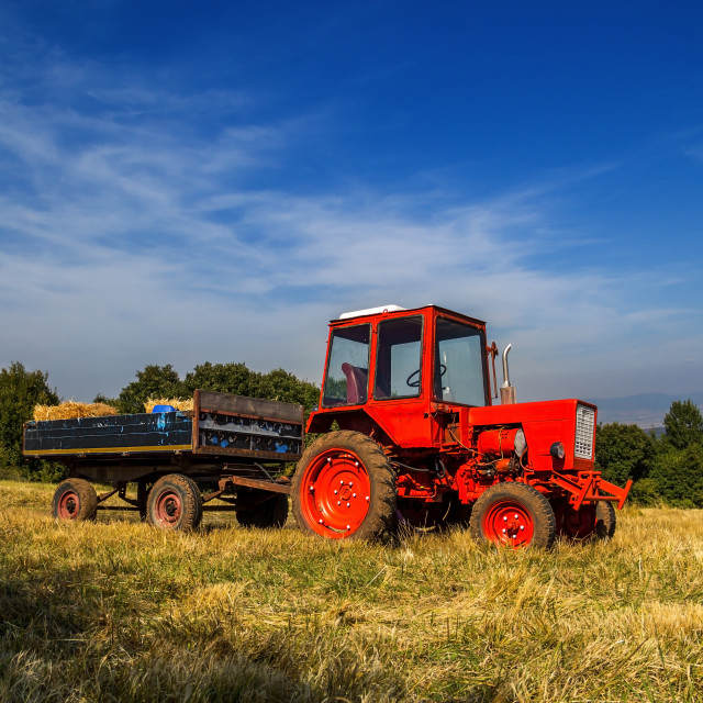 """Old red tractor on the agricultural field"" stock image"