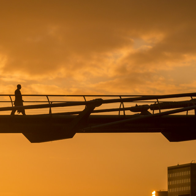 """Early Morning sunrise over Millennium Bridge"" stock image"