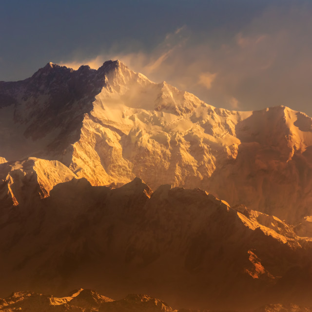 """Kanchenjunga Mountain peak of Himalayas covered with snow"" stock image"