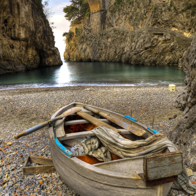 """Fiord of Furore, Amalfi coast, Italy boat in beach"" stock image"