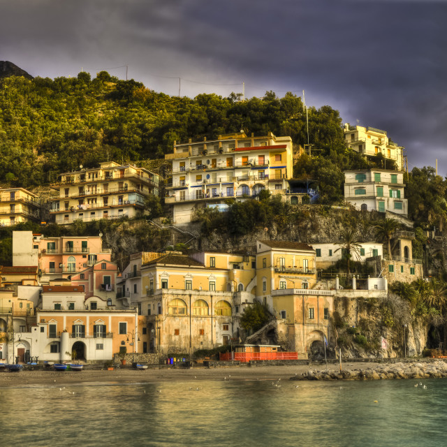 """Cetara, italian fishing village, Amalfi coast big landscape"" stock image"