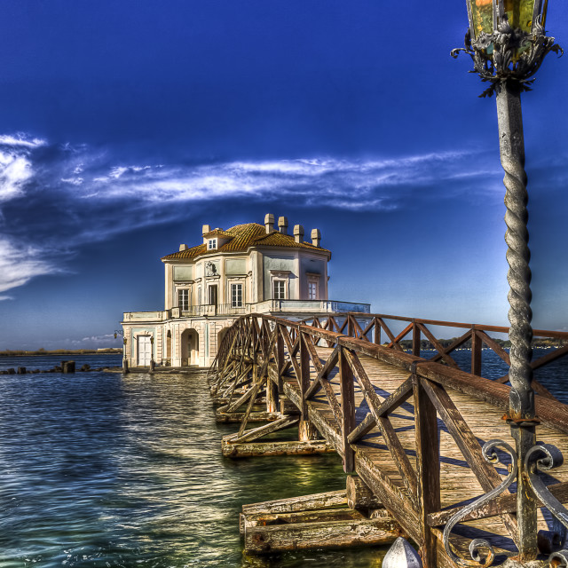 """Cottage vanvitellian (Casina vanvitelliana) on the Fusaro Lake Bacoli (NA) italy HDR3"" stock image"