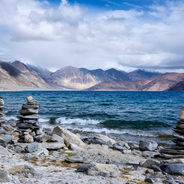 """The Cairns of Pangong Tso"" stock image"