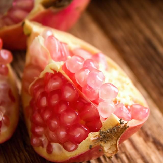 """Detail of pomegranate fruit"" stock image"