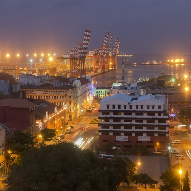 """View on Colombo port and city in Sri Lanka at dusk."" stock image"