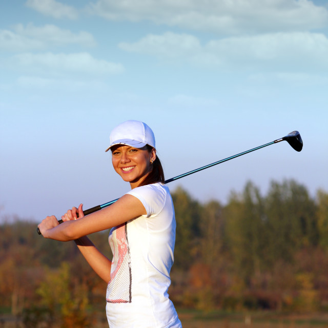 """beautiful girl golf player on field"" stock image"