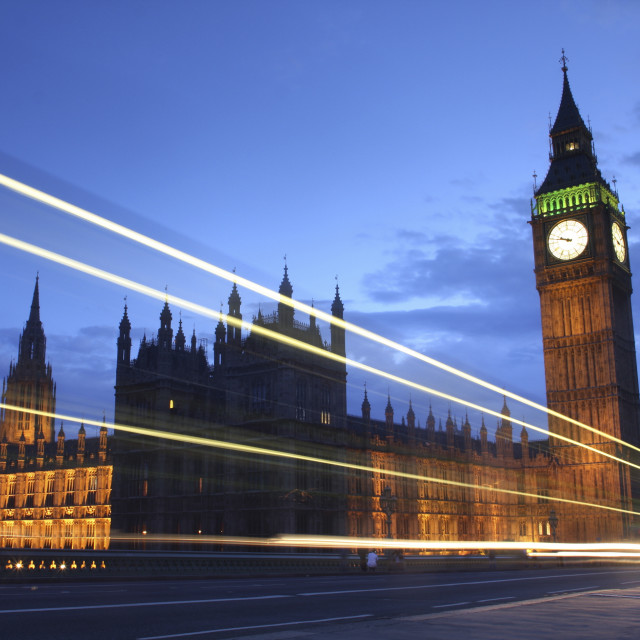 """""""houses of Parliament traffic Trails"""" stock image"""