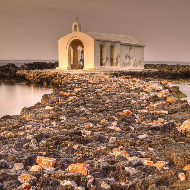 """Agios Nicholaos Church Crete island sunset"" stock image"