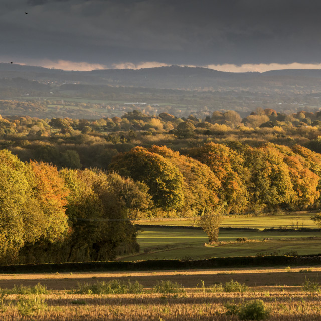 """Sunshine over an Autumn Wiltshire landscape"" stock image"