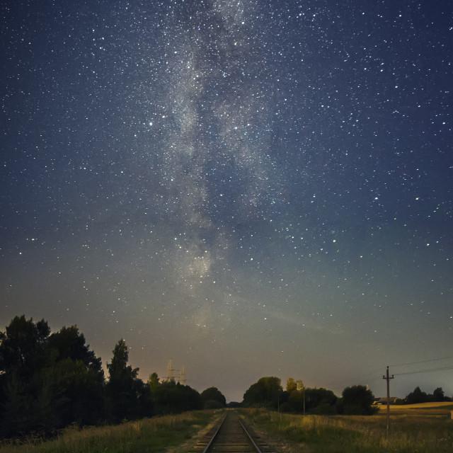 """Milky way and railway"" stock image"