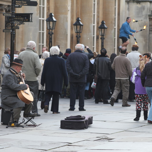 """Busking in Bath"" stock image"