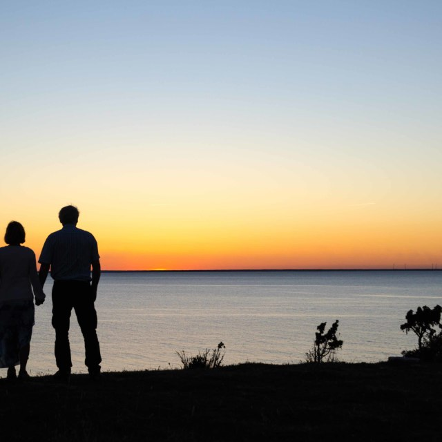 """""""Hand in hand at twilight time"""" stock image"""