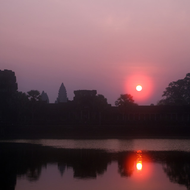 """Angkor Wat, Lake Reflection at Sunrise"" stock image"