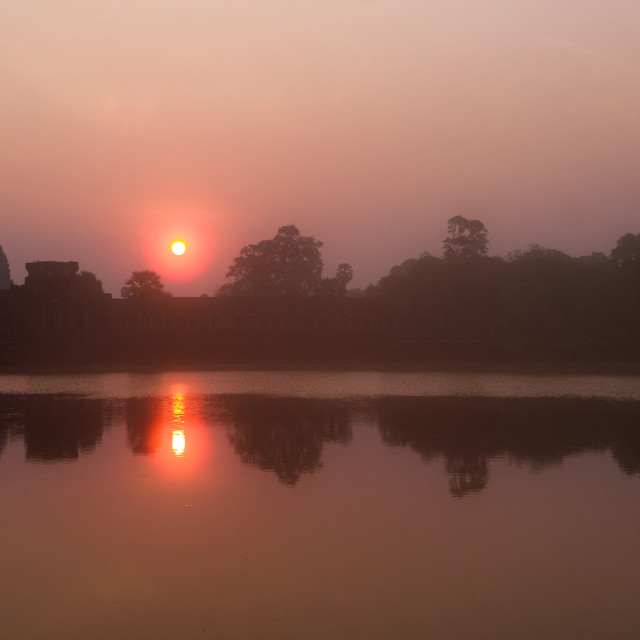 """Angkor Wat, Forest & Lake Reflection at Sunrise"" stock image"