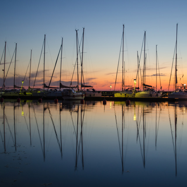 """""""Twilight at a small harbor"""" stock image"""