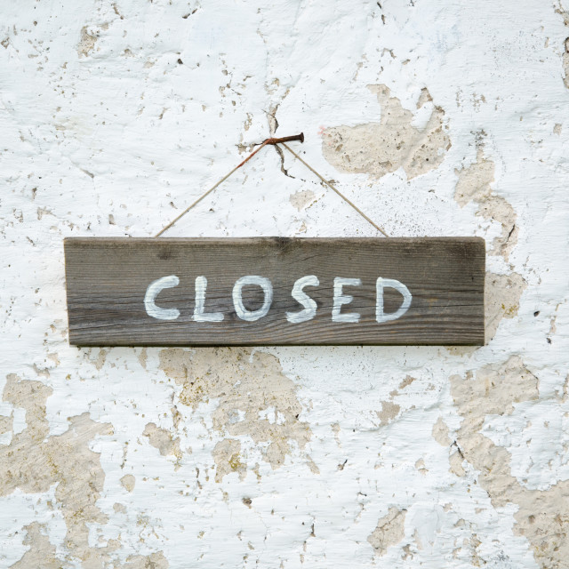 """""""Closed at an old wooden sign"""" stock image"""