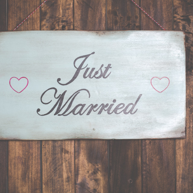 """Poster Just Married"" stock image"
