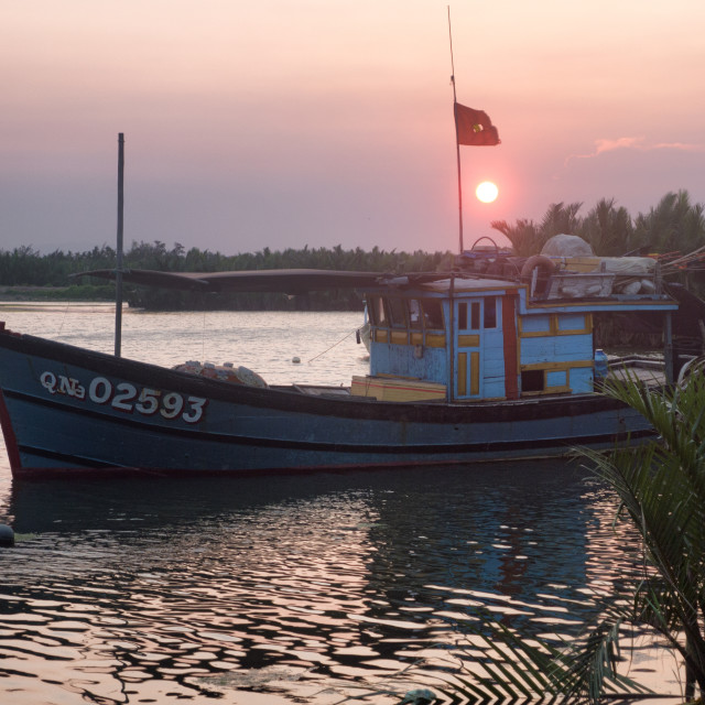 """Boat in River at Sunset, Hoi An, Vietnam"" stock image"