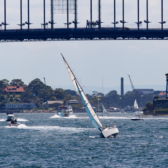 """Sailing Under Sydney Harbour Bridge"" stock image"