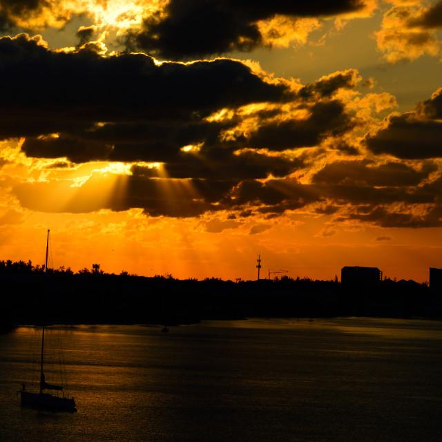 """""""Dramatic Sunrise At Nassau"""" stock image"""