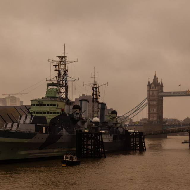 """HMS Belfast and Tower Bridge"" stock image"