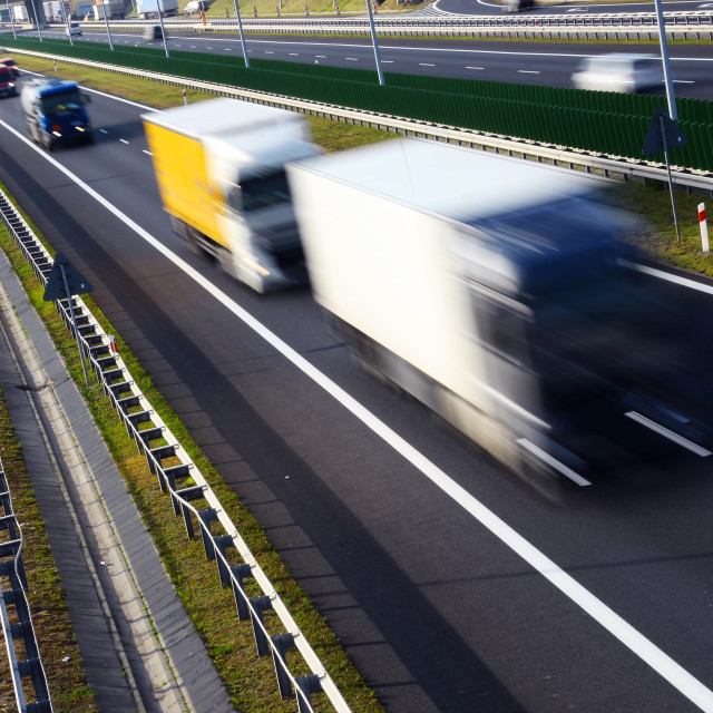 """Four lane controlled-access highway in Poland"" stock image"
