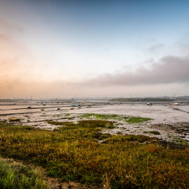 """Battle Of Sunset and Fog at Manningtree"" stock image"