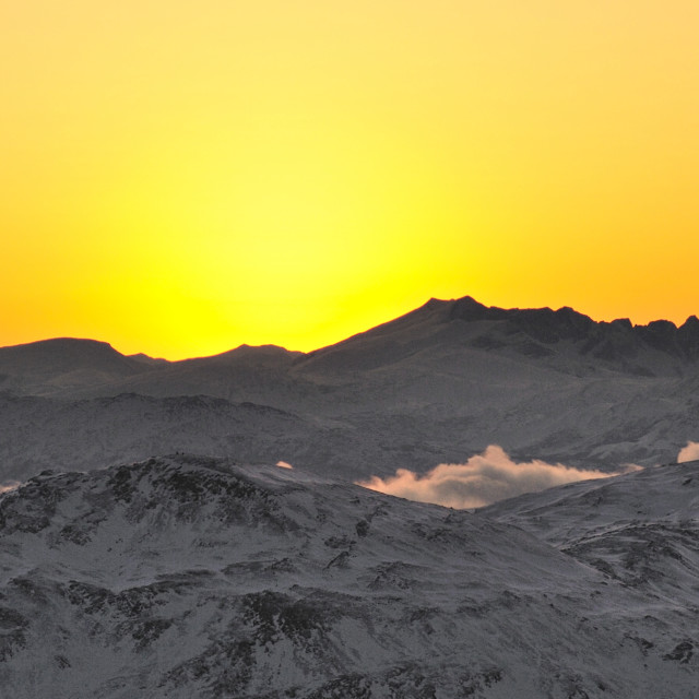 """""""Mountains in winter light"""" stock image"""