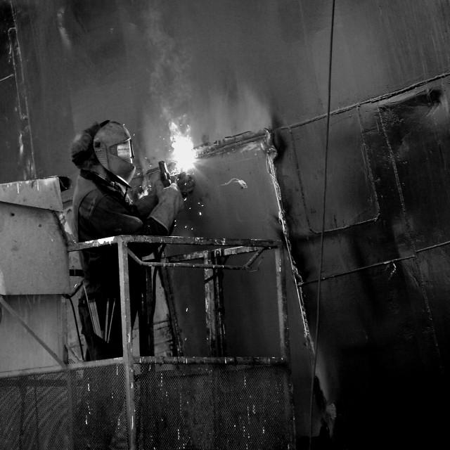 """""""The welder"""" stock image"""