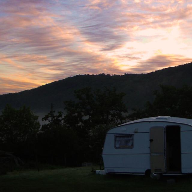 """""""Caravan at dawn"""" stock image"""
