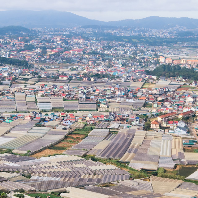 """View of Dalat city from high point, Lam Dong, Vietnam"" stock image"