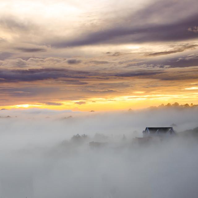 """DA LAT, VIETNAM,Oct 5th, 2014: Sunrise on Trai Mat , Da Lat City , Lam Dong province"" stock image"