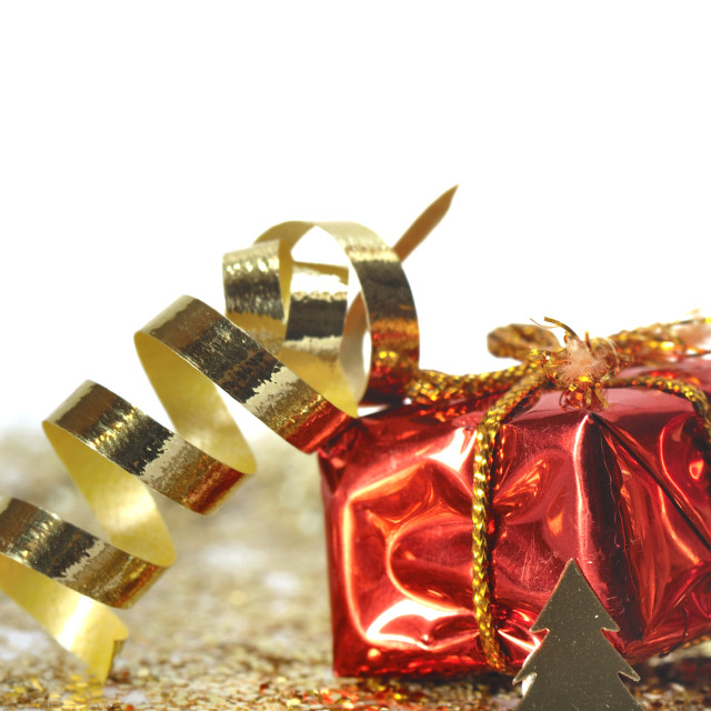 """""""gift and curling ribbon"""" stock image"""