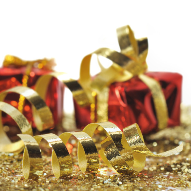 """""""curling ribbon and gifts"""" stock image"""