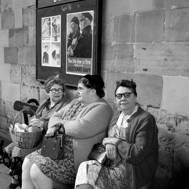 """""""Women waiting for a train"""" stock image"""