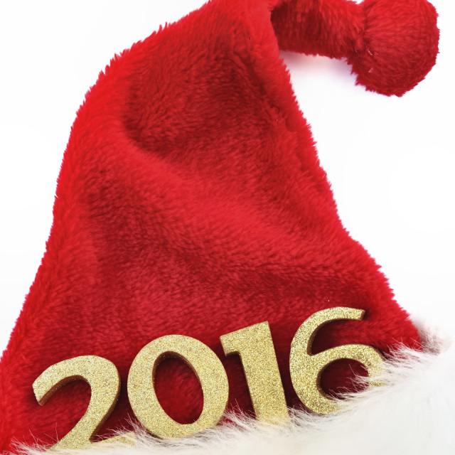 """2016 on Christmas hat"" stock image"