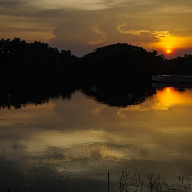 """A burning sunset sky"" stock image"
