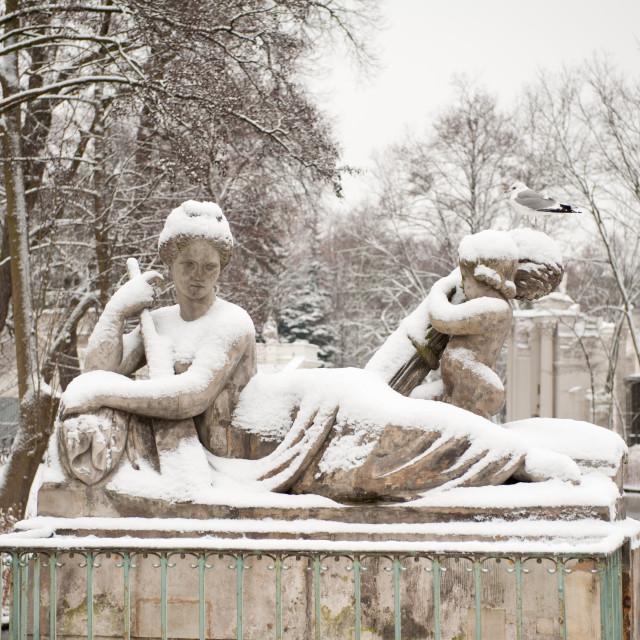 """Snow on Wisla statue"" stock image"