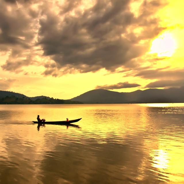 """""""Sunset at Lak lake, Buon Ma Thuoc city, Vietnam"""" stock image"""