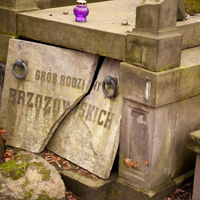 """""""Slab of damaged grave Brzozowski"""" stock image"""