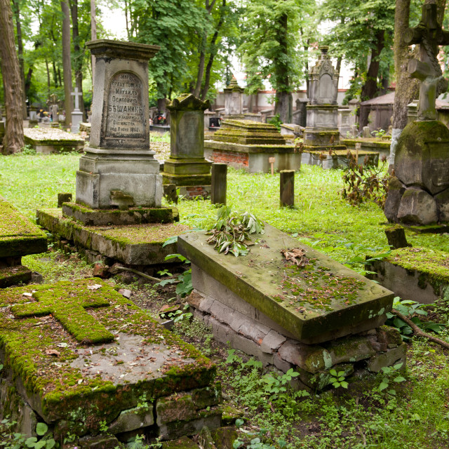 """Slabs with moss on graves"" stock image"