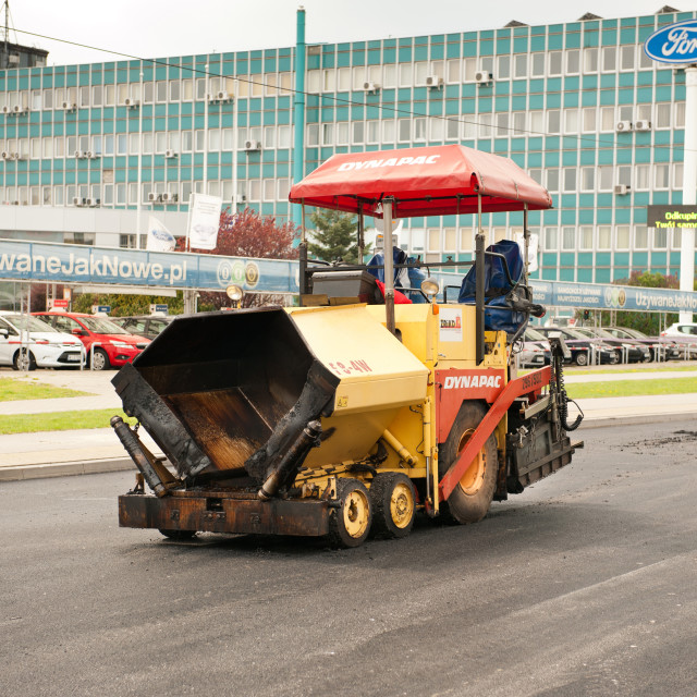 """Asphalt paver street renovation"" stock image"