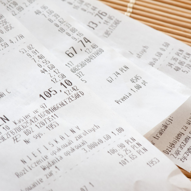 """Shop receipts prices calculations"" stock image"