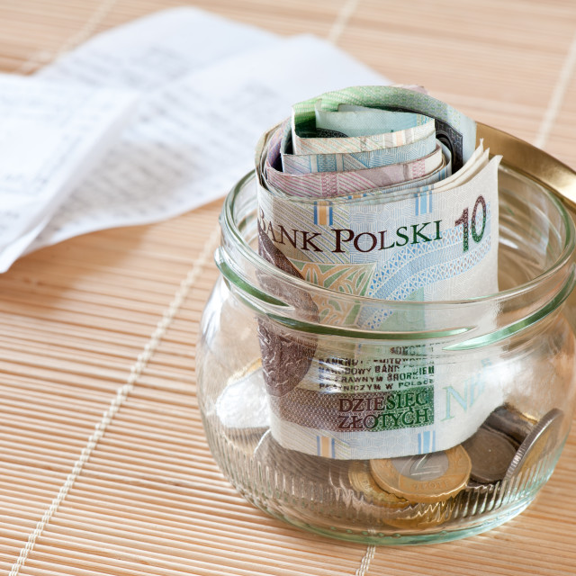 """Money savings and receipts"" stock image"