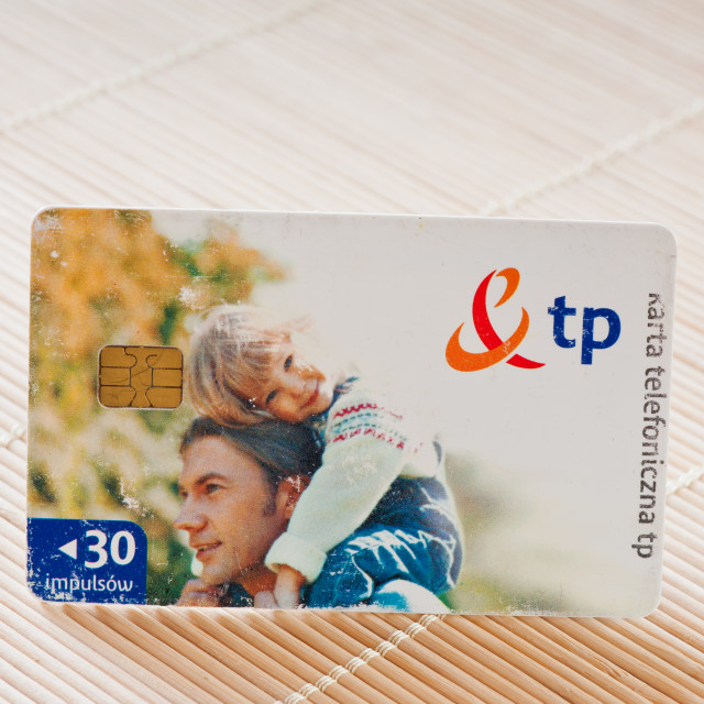 """""""Scratched Polish chip phone card"""" stock image"""