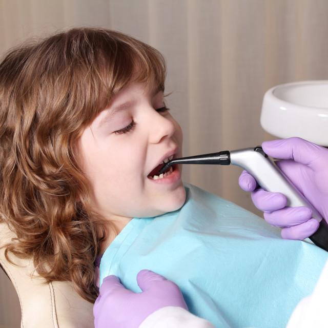 """little girl patient in dental office"" stock image"