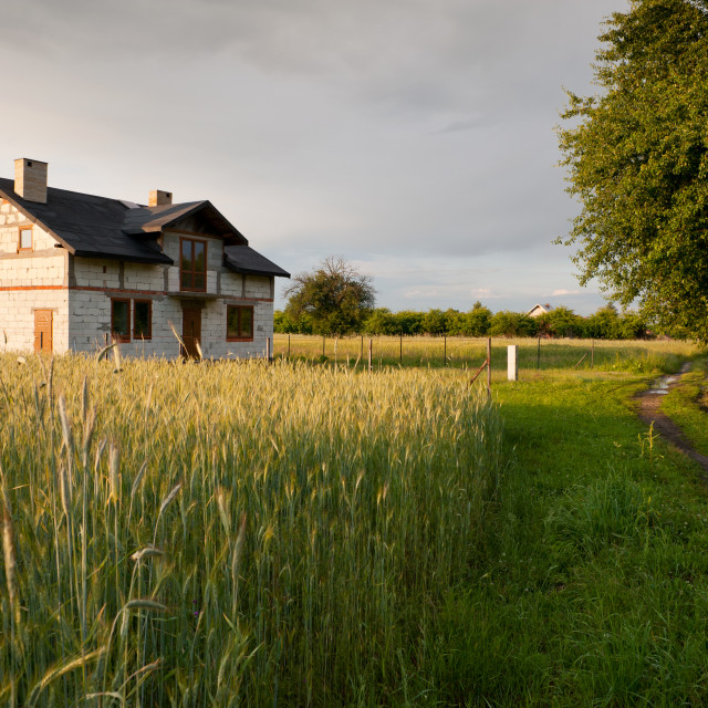 """Derelict disused house in field"" stock image"