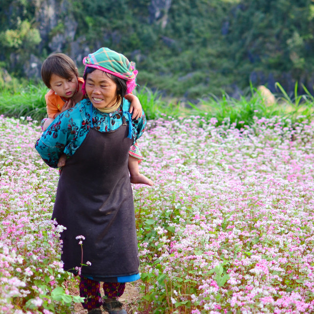"""""""Mother, daughter & flowers"""" stock image"""