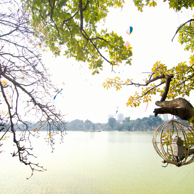 """Sword lake (Ho Hoan Kiem), Hanoi, Vietnam"" stock image"