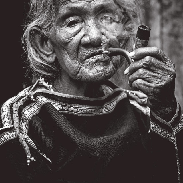 """An old ethnic minority woman (Mnong)"" stock image"
